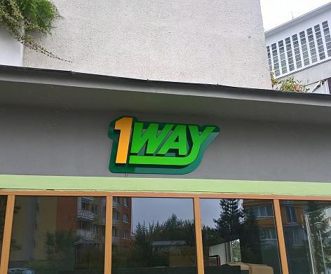 3D krabicové logo, materiál hliník, plexi.